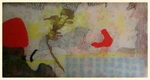 LE RÊVE, 2015 230X100 cm Birgit Herzberg-Jochum Mixed Media on transparent Cotton