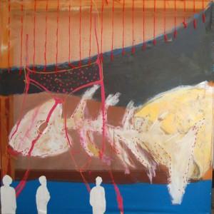 """Birgit Herzberg-Jochum, """"Hat es geschmeclt?"""" 2008 90X90 cm"""